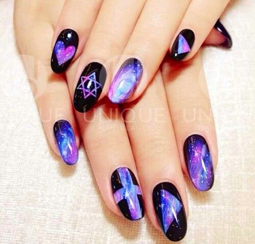 Stud Nails Floral Stilletto Awesome Galaxy