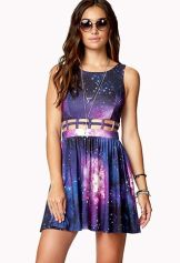 Forever 21. Fit & Flare Comic Cage Dress.