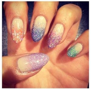 glitter stillettos nail