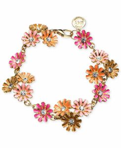Jones New York Gold-tone Colorful Flower Link Bracelet.