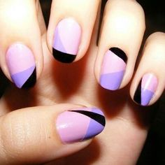 puple colorblock nail