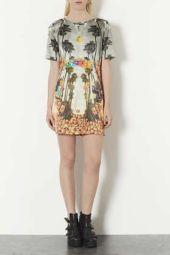 TopShop. Deer Print Satin Shift Dress.
