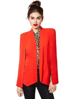 Nasty Gal. http://www.nastygal.com/clothes-jackets-coats/champagne-taste-cape-blazer--red