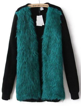 Sheinside. http://www.sheinside.com/Green-Contrast-Knit-Long-Sleeve-Faux-Fur-Coat-p-149855-cat-1735.html