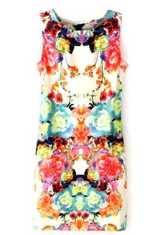 Sheinside. Multi Sleeveless Floral Bodycon Dress. $19.50 http://www.sheinside.com/Multi-Sleeveless-Floral-Bodycon-Dress-p-113143-cat-1727.html