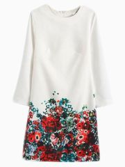 Choies. White Shift Dress With Floral Bottom. $31.28 http://www.choies.com/product/white-shift-dress-with-floral-bottom