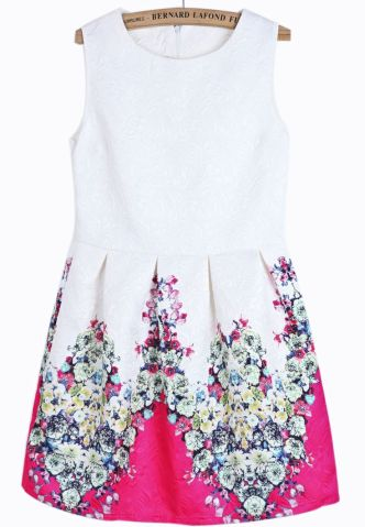 Sheinside. White Sleeveless Rose Red Floral Slim Dress. $24.80 http://www.sheinside.com/White-Sleeveless-Rose-Red-Floral-Slim-Dress-p-161180-cat-1727.html