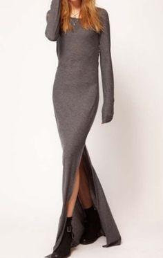 Dark Grey Long Sleeve Elastic Side Split Dress. $22.90 http://www.sheinside.com/Dark-Grey-Long-Sleeve-Elastic-Side-Split-Dress-p-102653-cat-1727.html