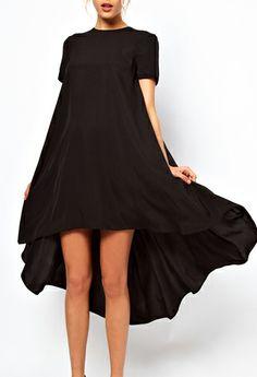 Sheinside. Black Short Sleeve Split High Low Dress $32 http://www.sheinside.com/Black-Short-Sleeve-Split-High-Low-Dress-p-145249-cat-1727.html