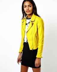Asos. http://us.asos.com/River-Island-Leather-Look-Zip-Collar-Biker-Jacket/1204xs/?iid=3740041&cid=2641&sh=0&pge=0&pgesize=204&sort=-1&clr=Yellow&mporgp=L1JpdmVyLUlzbGFuZC9SaXZlci1Jc2xhbmQtTGVhdGhlci1Mb29rLVppcC1Db2xsYXItQmlrZXItSmFja2V0L1Byb2Qv