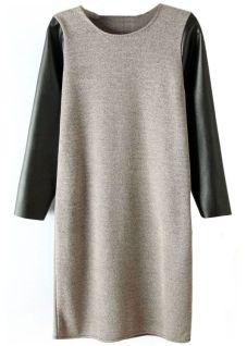 Sheinside. Grey Contrast PU Leather Sleeve Dress $25.39 http://www.sheinside.com/Grey-Contrast-PU-Leather-Sleeve-Dress-p-107019-cat-1727.html