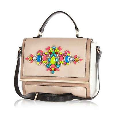 River Island. BEIGE GEM STONE EMBELLISHED MESSENGER BAG $80 http://us.riverisland.com/women/bags--purses/cross-body-bags/Beige-gem-stone-embellished-messenger-bag-648419