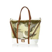 River Island. Gold Sequin Embellished Tote Bag. $56 http://us.riverisland.com/women/bags--purses/shopper--tote-bags/Gold-sequin-embellished-tote-bag-651626
